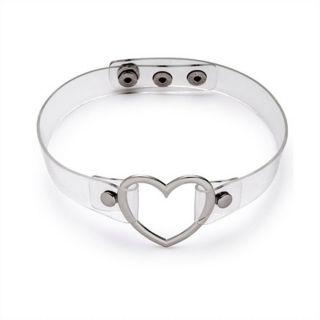 Clear Choker + Silver Heart Collar