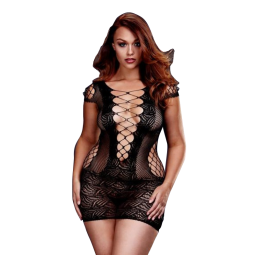 Corset Lace Front Mini Dress by Baci Size 16 - 22