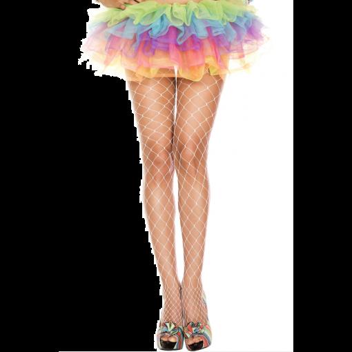 Music Legs Diamond Net Spandex Pantyhose - White