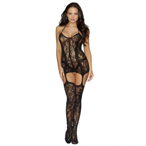 Dreamgirl Black Diamond Lace & Opaque Body Stocking with attached Stockings