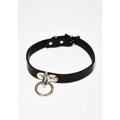 Black Leather Choker + 1 Silver Ring