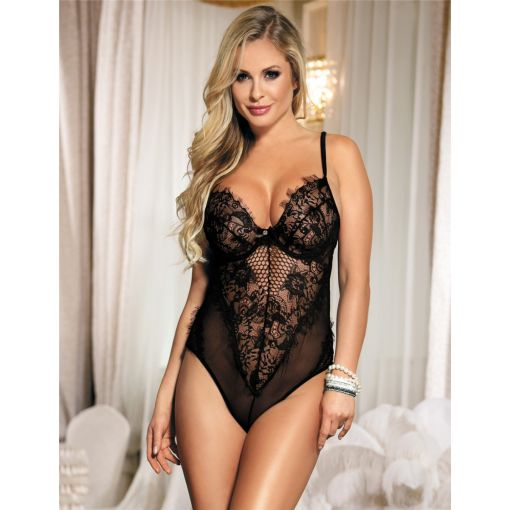 Chic Kissable Black Sheer Mesh Backless Teddy With Underwire