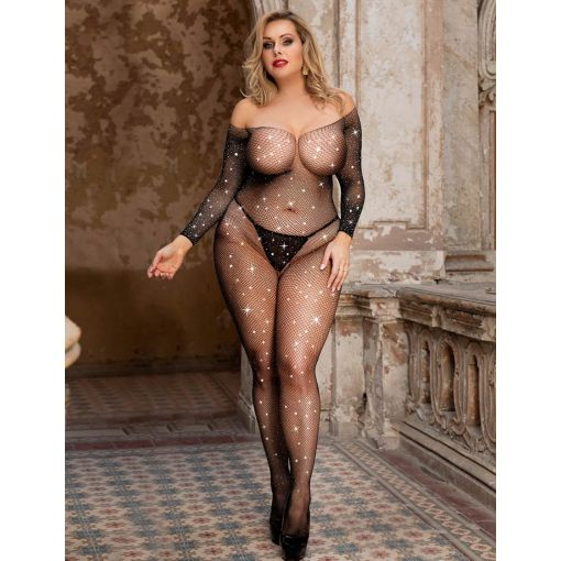 Queen Size Black Fishnet Diamantes Long Sleeve Bodystocking