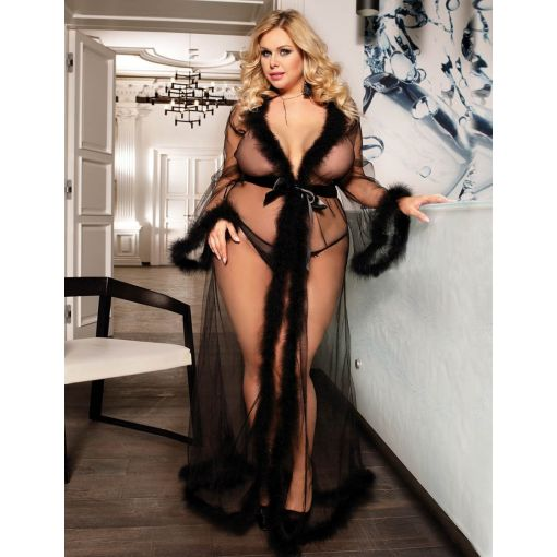 Queen Size Sheer Black Robe With Faux Fur Accents 20-22