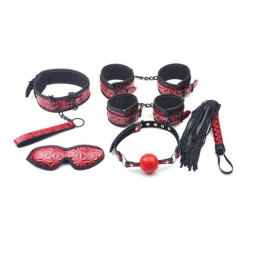 Red Embossed 6 Piece Small Bondage Kit